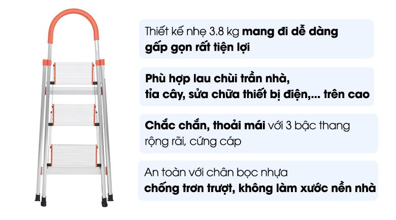 Thang nhôm Kachi 3 bậc MK-148