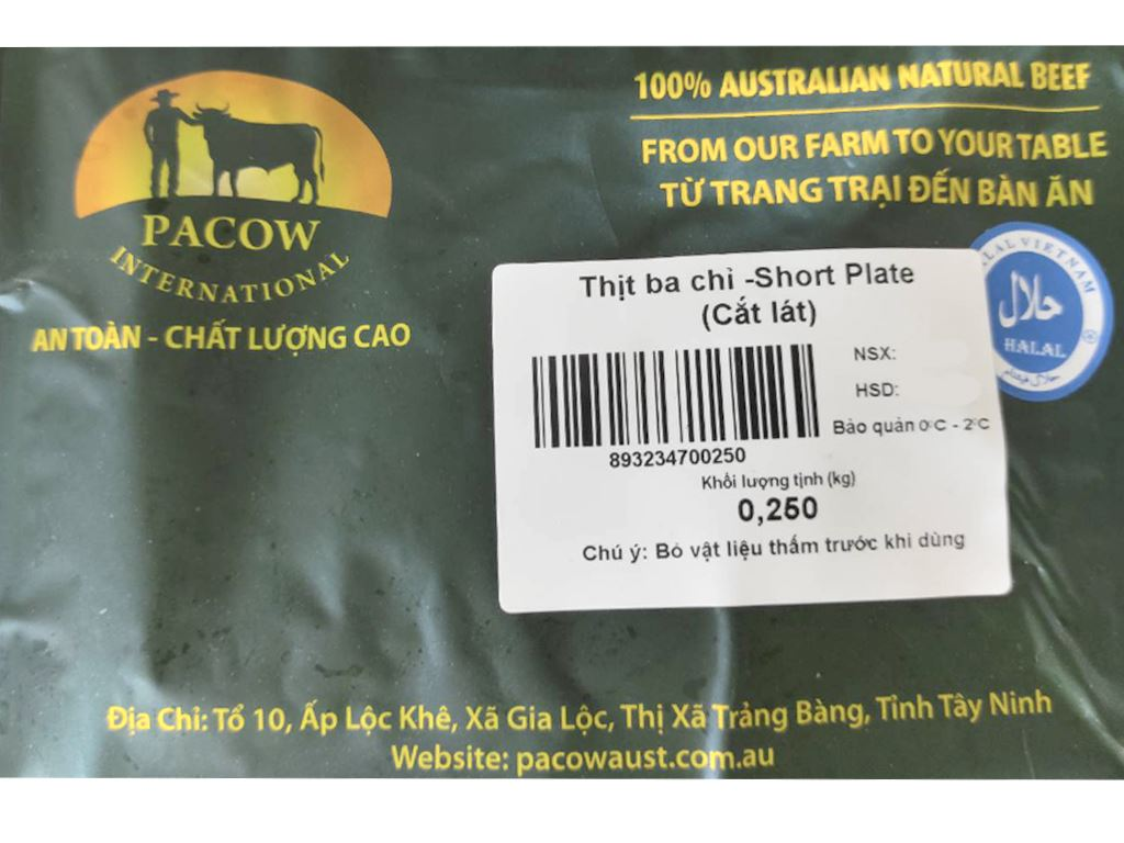 Thịt ba chỉ bò Úc Pacow khay 250g 5