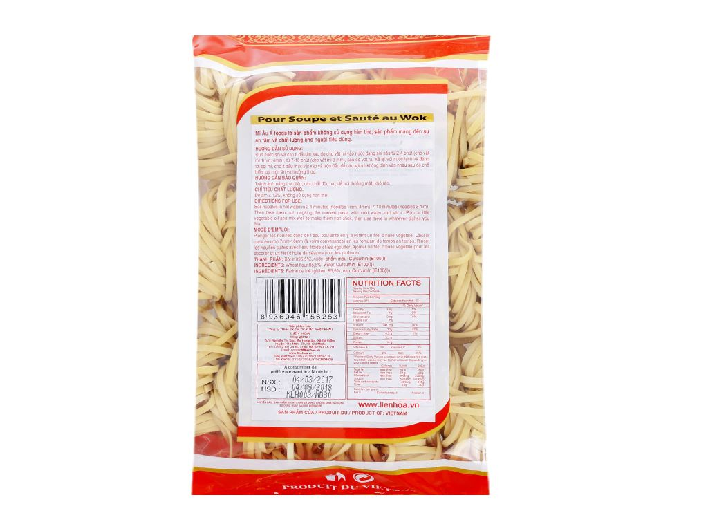 Mì sợi lớn 3mm Âu Á Foods gói 450g 2