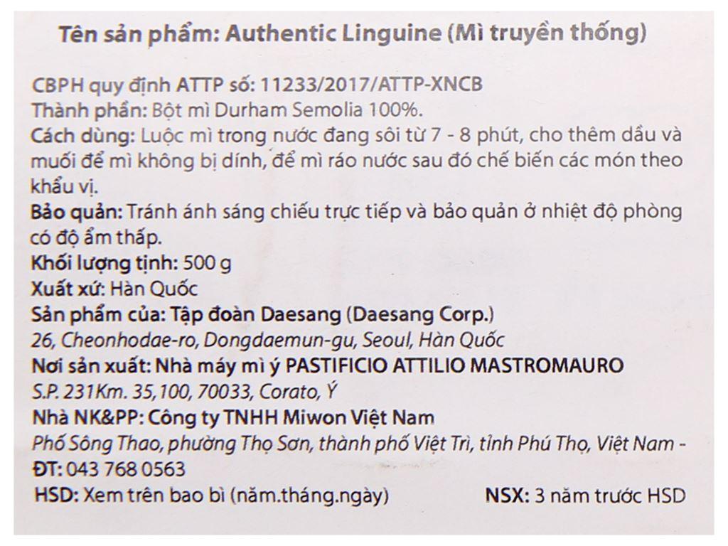 Mì truyền thống Linguine Miwon gói 500g 4
