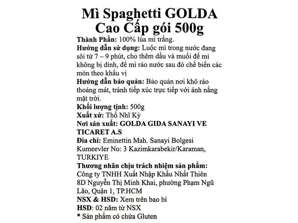 Mì Spaghetti cao cấp Golda gói 500g 3