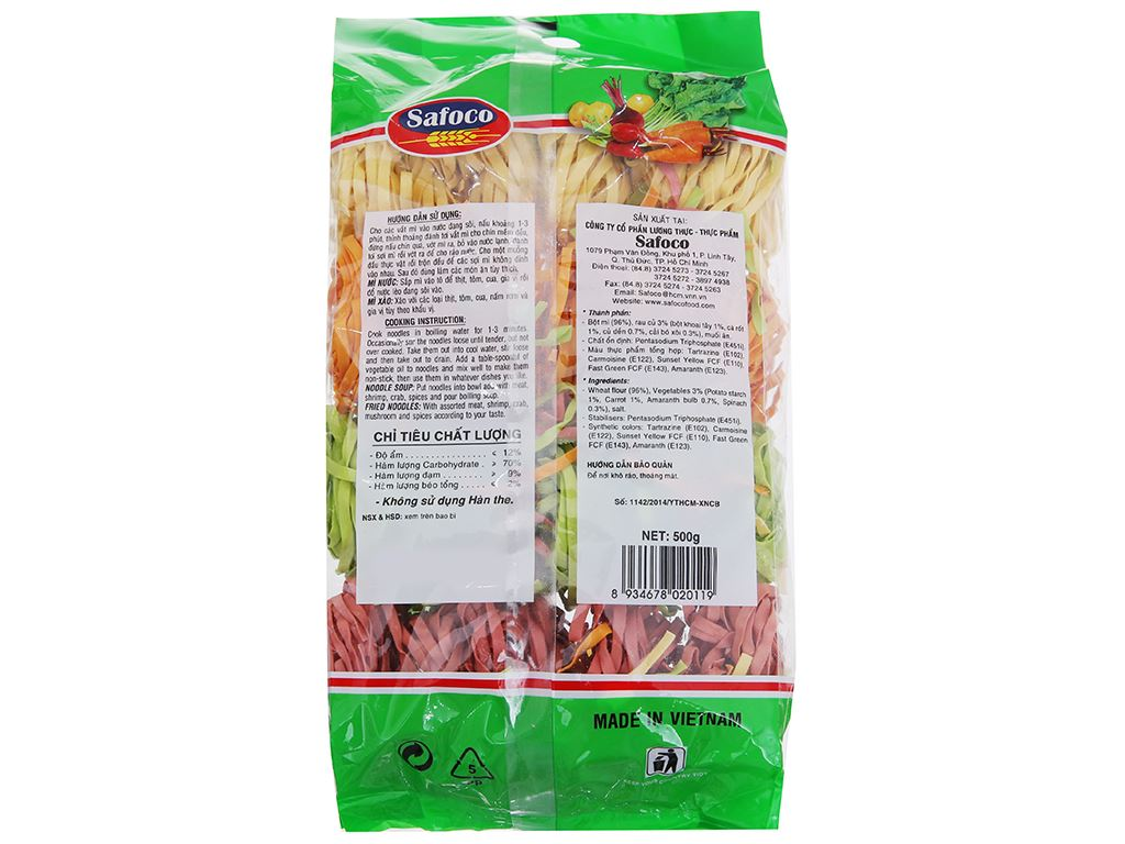 Mì rau củ sợi dẹp Safoco gói 500g 2