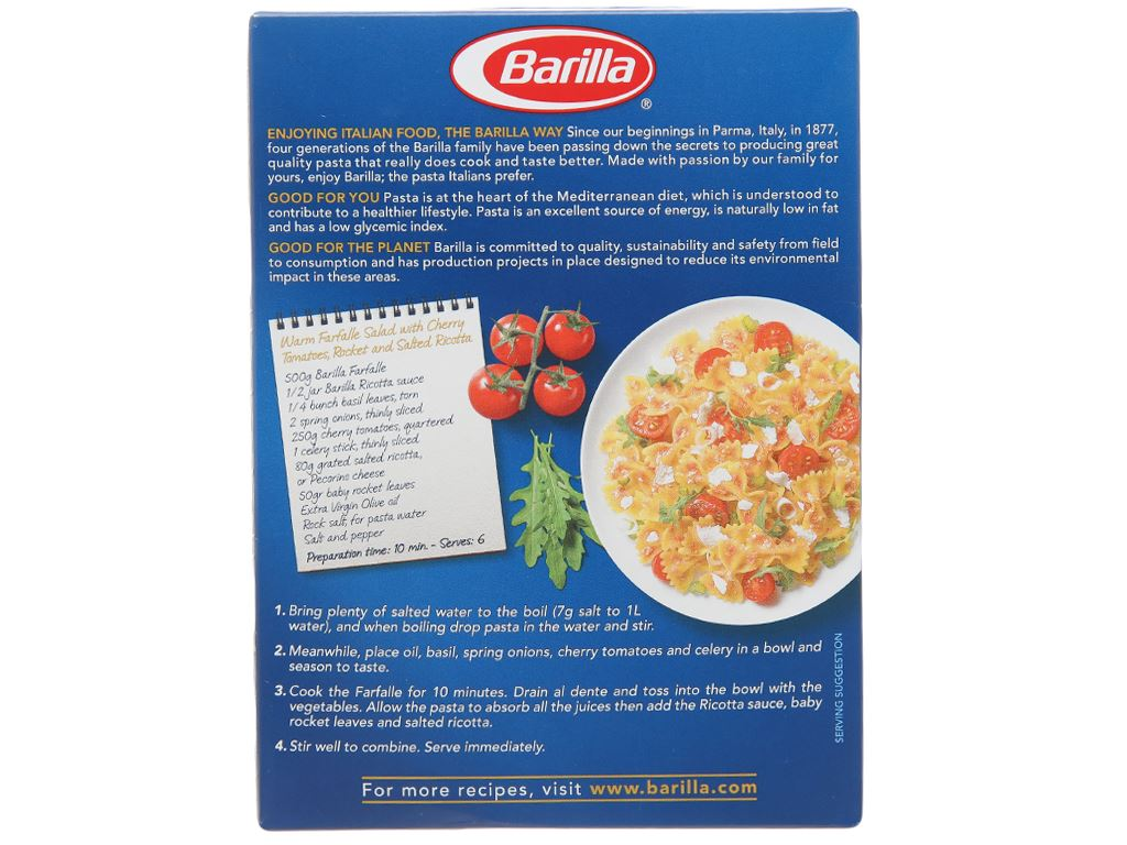Nui hình nơ Farfalle Barilla hộp 200g 2