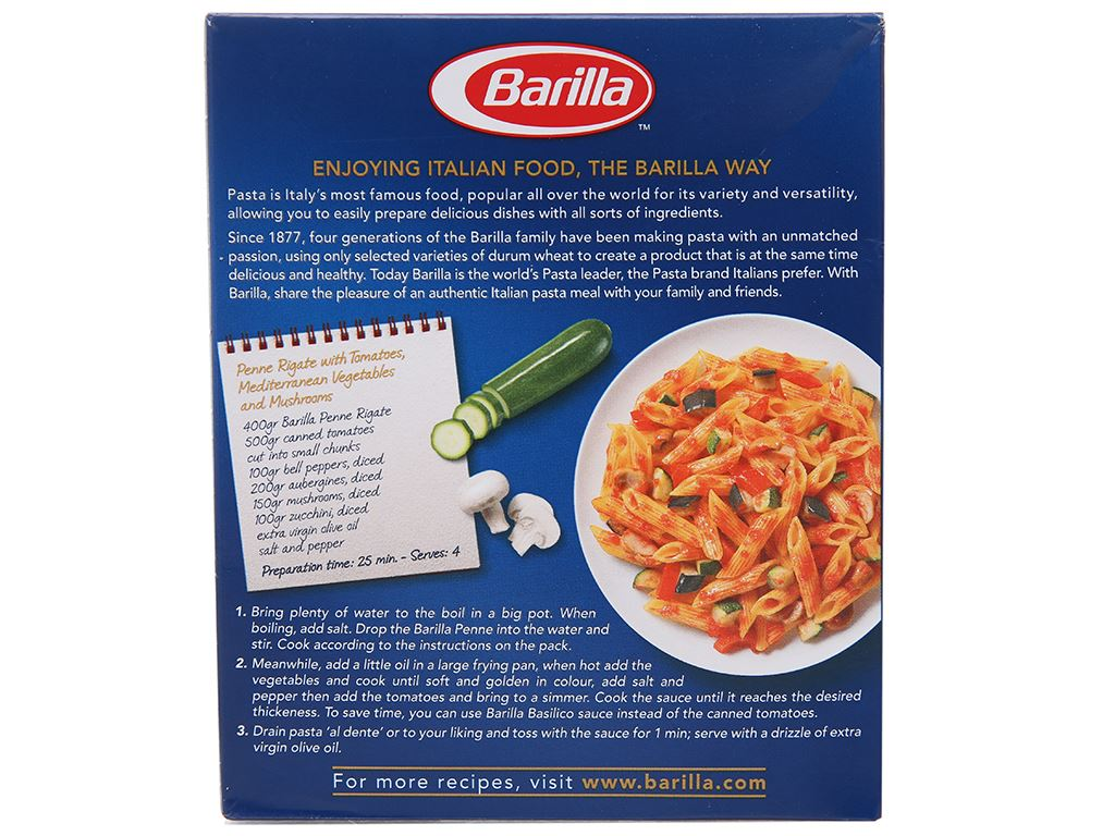 Nui ống xéo số 73 Penne Rigate Barilla hộp 500g 3