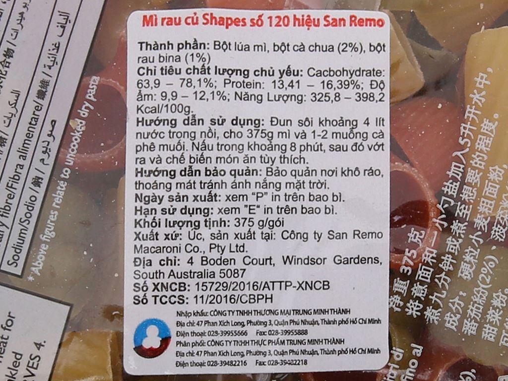 Nui rau củ Shapes số 120 San Remo gói 200g 4