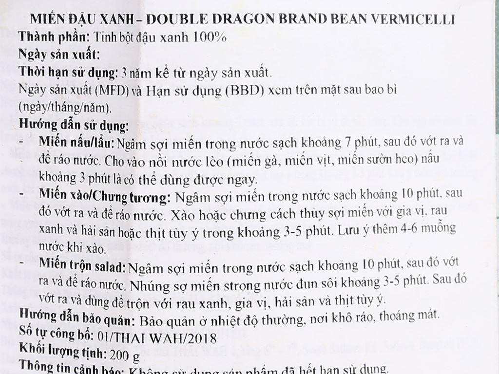 Miến đậu xanh Double Dragon Thai Wah gói 200g 4