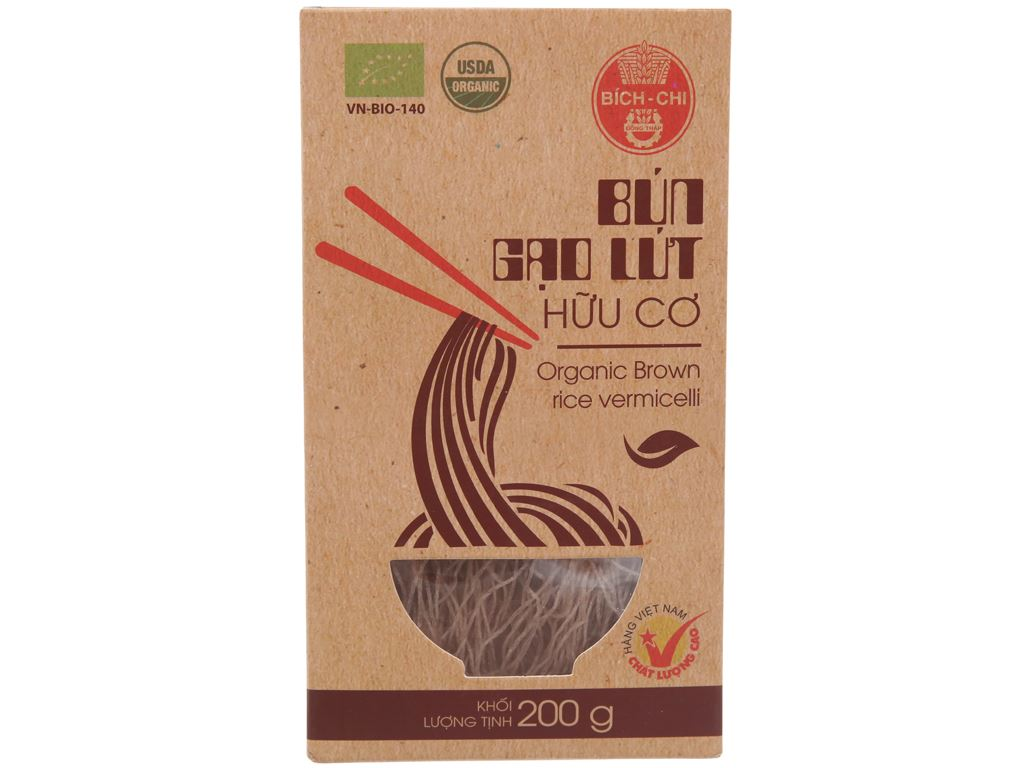 Bún gạo lứt hữu cơ Bích Chi hộp 200g 1