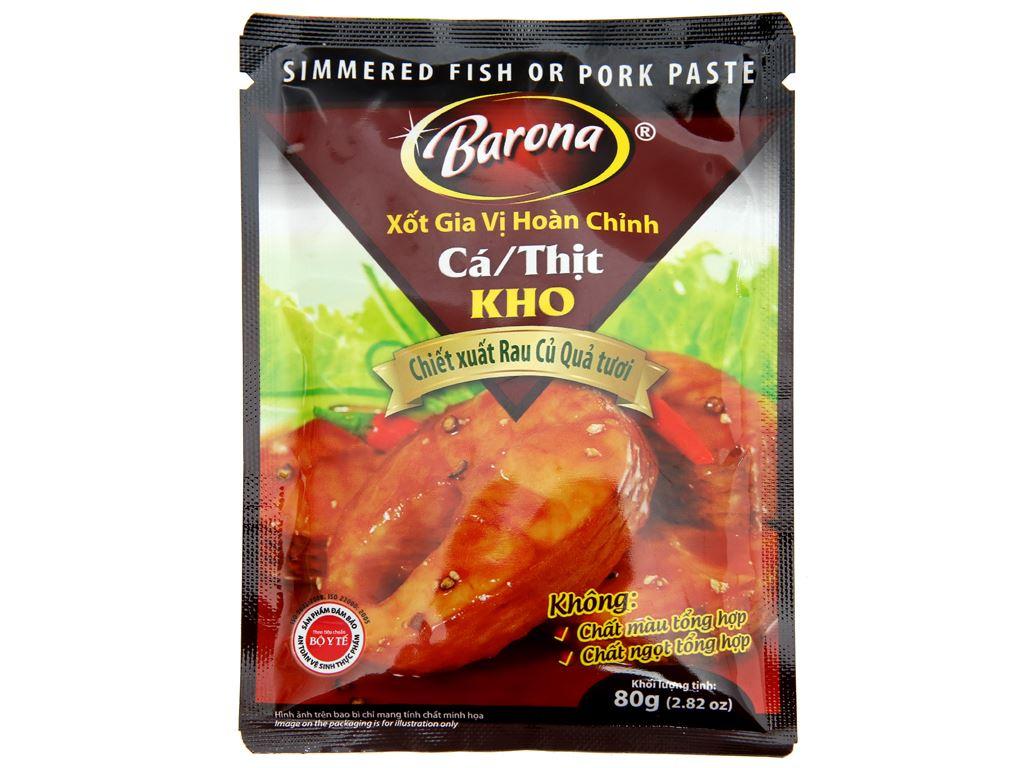 Xốt gia vị hoàn chỉnh ướp cá, thịt kho Barona gói 80g 1