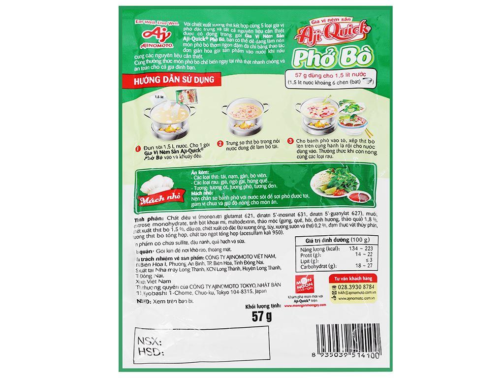 Gia vị nêm sẵn nấu phở bò Aji-Quick gói 57g 3
