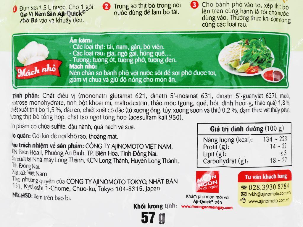 Gia vị nêm sẵn nấu phở bò Aji-Quick gói 57g 4