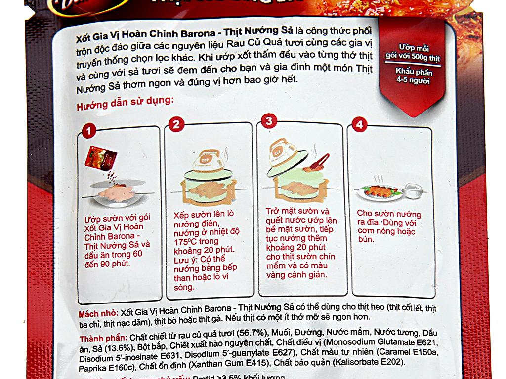 Xốt gia vị hoàn chỉnh thịt nướng sả Barona gói 80g 3