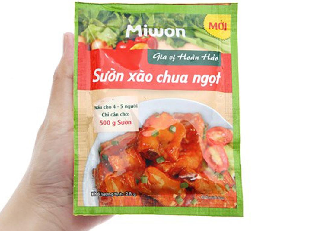 Gia vị hoàn hảo sườn xào chua ngọt Miwon gói 28g 4
