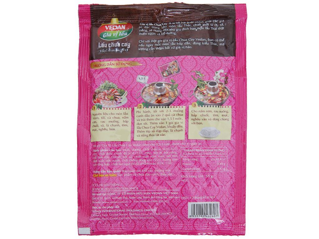 Gia vị nấu lẩu chua cay hương vị Thái Vedan gói 55g 2