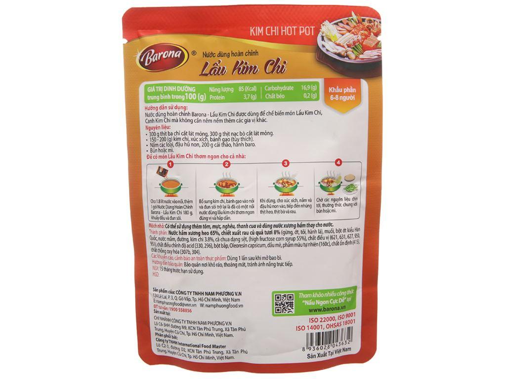 Nước dùng hoàn chỉnh lẩu kimchi Barona gói 180g 2