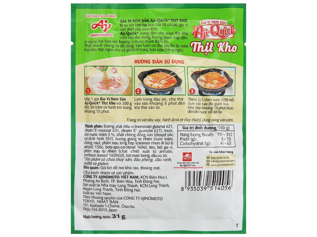 Gia vị nêm sẵn thịt kho Aji-Quick gói 31g 2