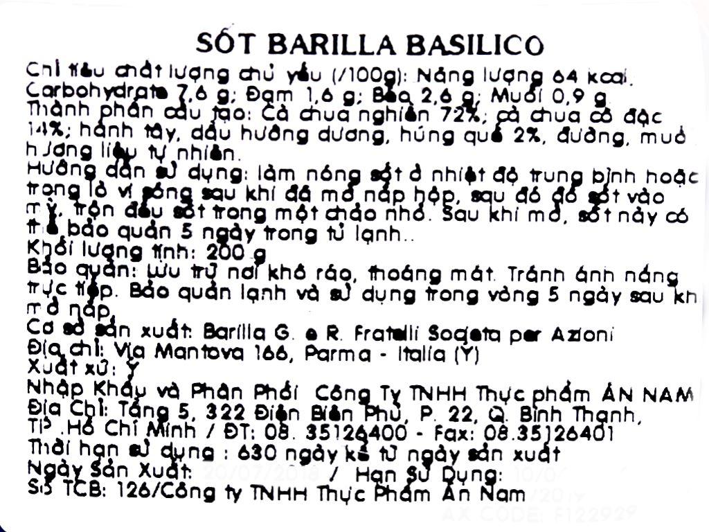 Sốt cà Barilla Basilico hũ 200g 5