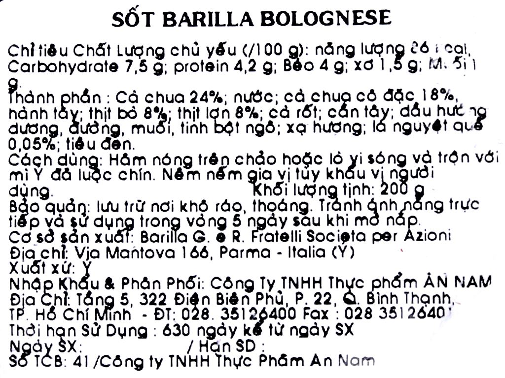 Sốt cà Barilla Bolognese hũ 200g 4