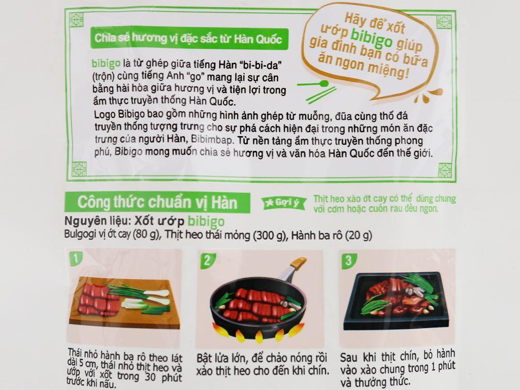 Xốt ướp thịt bulgogi vị ớt cay Bibigo gói 80g 3