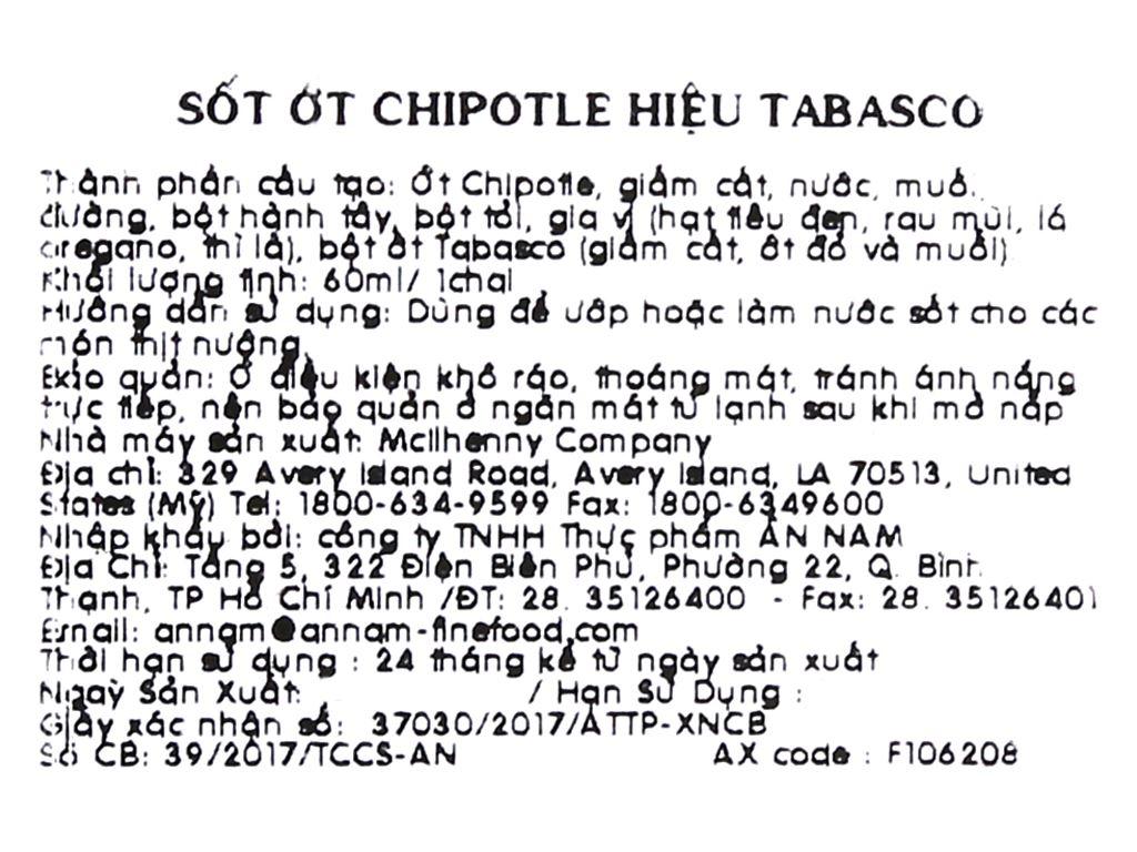 Sốt ớt Tabasco Chipotle chai 60ml 4