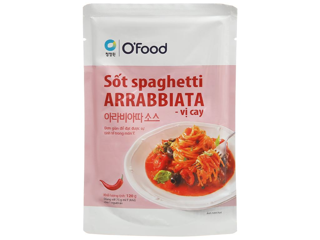 Sốt spaghetti vị cay O'food Arrabbiata gói 120g 1