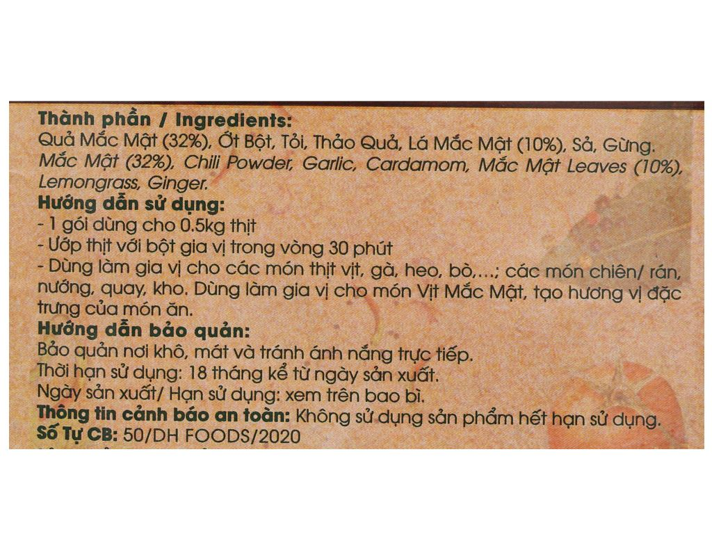 Gia vị ướp thịt mắc mật DH Food Natural gói 10g 3