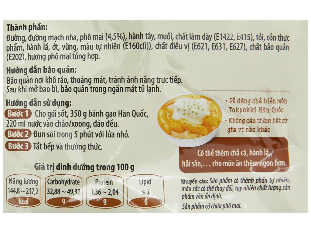 Sốt Tokpokki vị phô mai Hàn Quốc O'food gói 120g 3