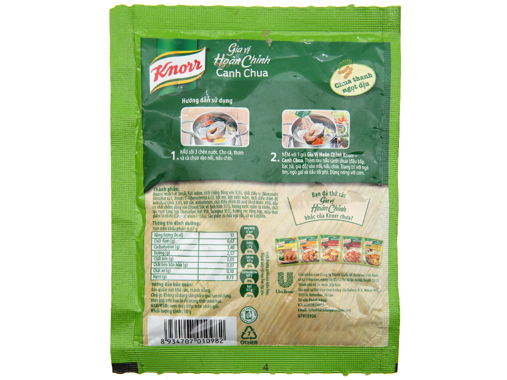 Gia vị hoàn chỉnh nấu canh chua Knorr gói 30g 2