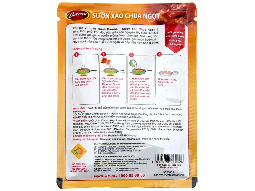 Xốt gia vị hoàn chỉnh sườn xào chua ngọt Barona gói 80g 2