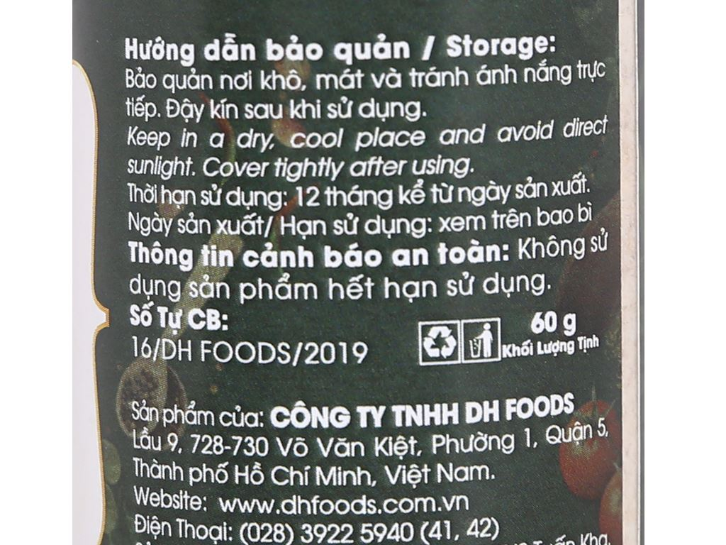 Tỏi bột Dh Food Natural hũ 60g 4