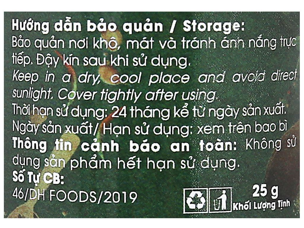 Hạt ngò Dh Food Natural hũ 25g 5