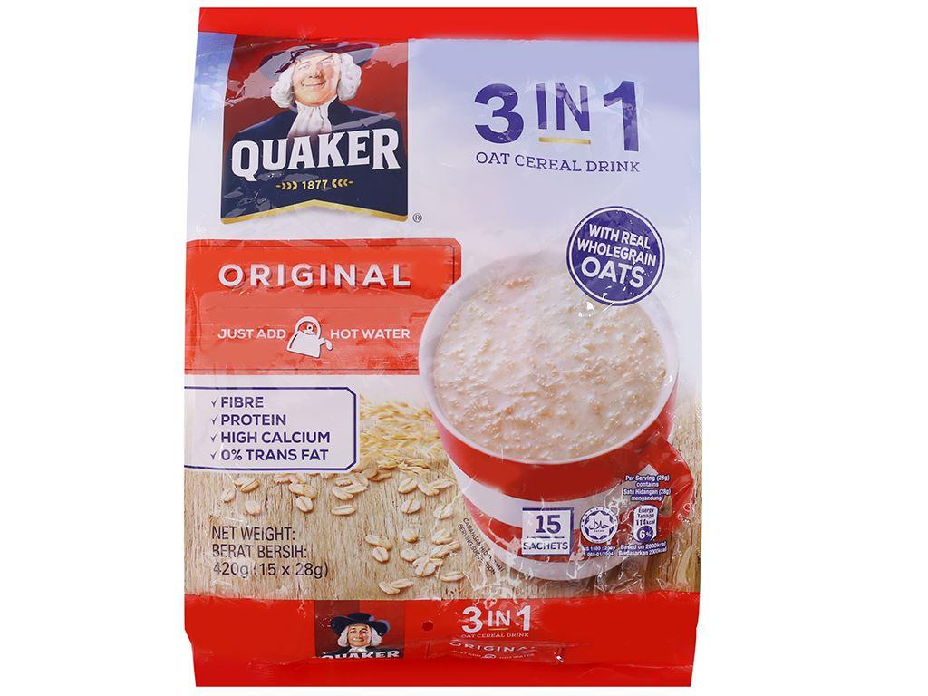Thức uống yến mạch 3 trong 1 vị truyền thống Quaker bịch 420g 1
