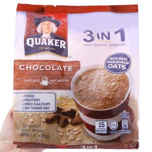 Thức uống yến mạch 3 trong 1 vị chocolate Quaker bịch 420g