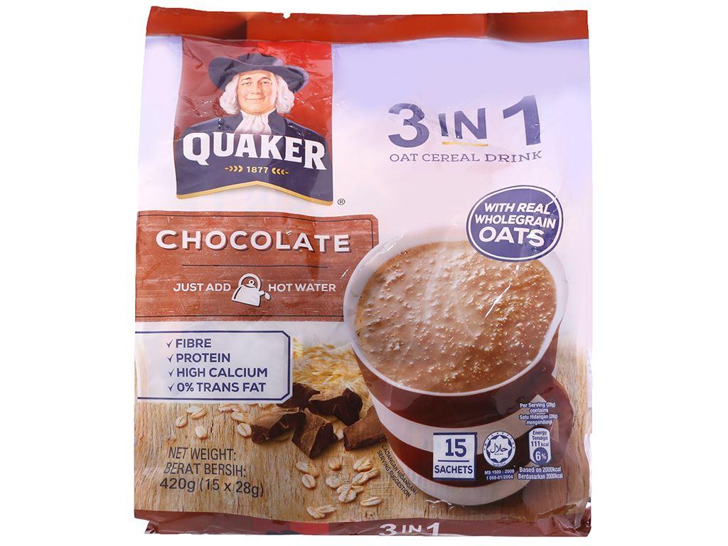 Thức uống yến mạch 3 trong 1 vị chocolate Quaker bịch 420g 1