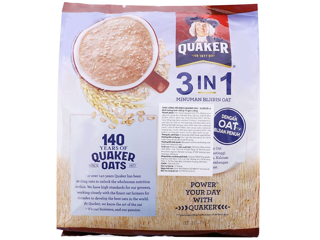 Thức uống yến mạch 3 trong 1 vị chocolate Quaker bịch 420g 2