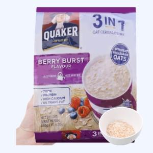 Thức uống yến mạch 3 trong 1 vị dâu berry Quaker bịch 450g