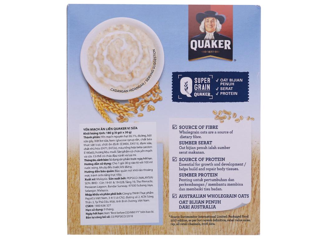 Yến mạch ăn liền vị sữa Quaker Milky Delight hộp 180g 3