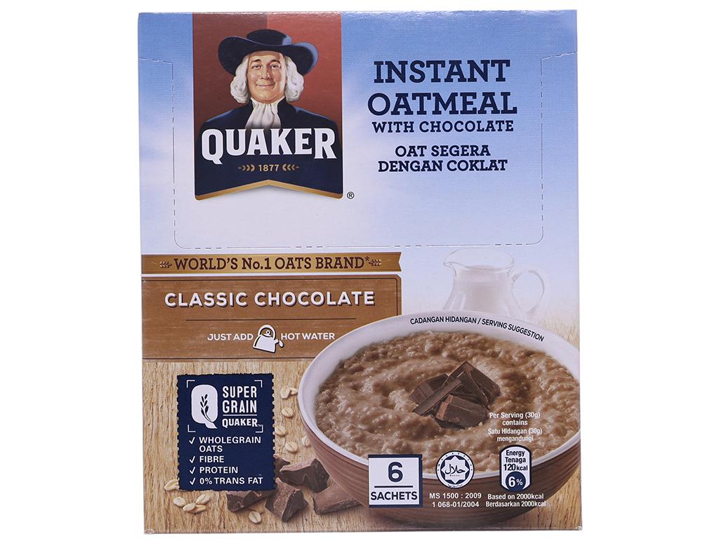 Yến mạch ăn liền vị chocolate Quaker Classic hộp 180g 1