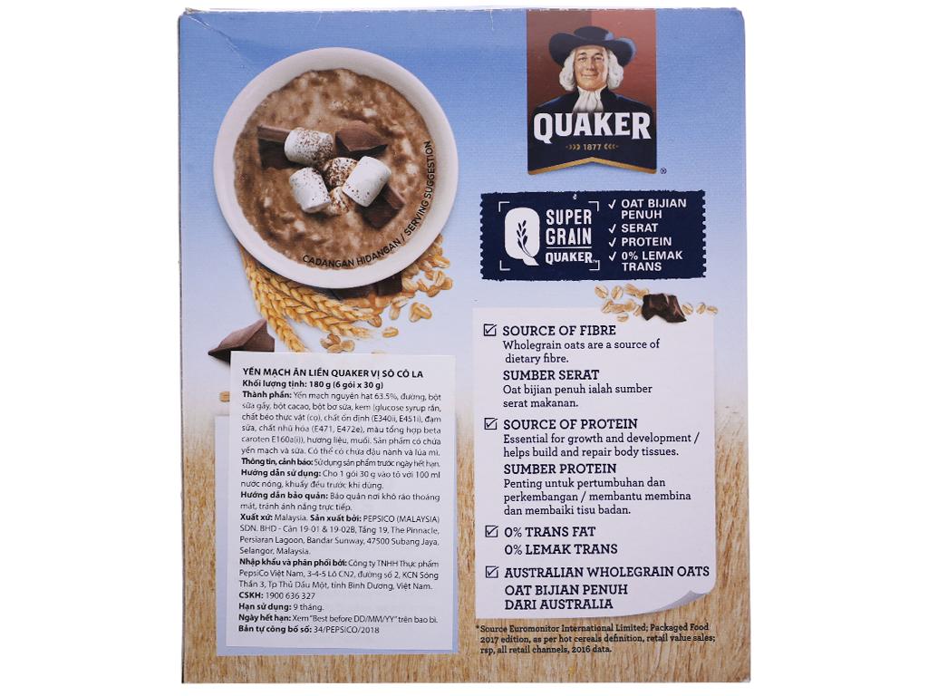Yến mạch ăn liền vị chocolate Quaker Classic hộp 180g 2