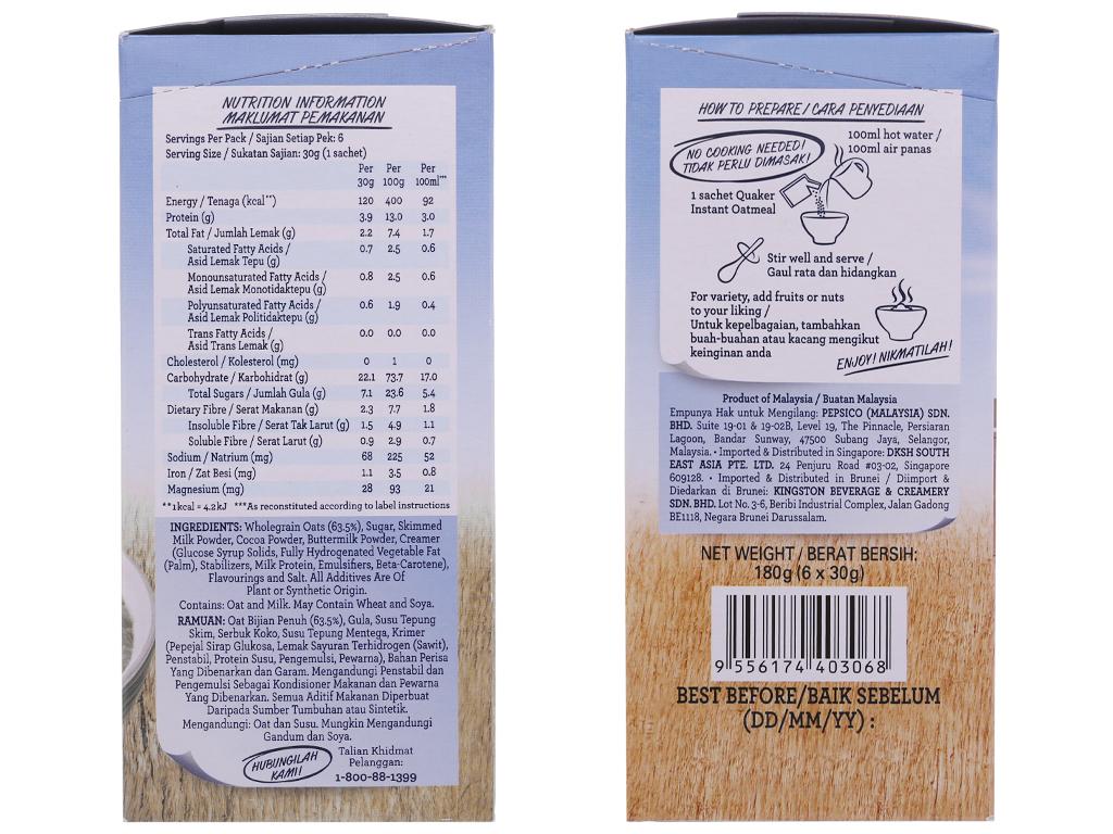 Yến mạch ăn liền vị chocolate Quaker Classic hộp 180g 3