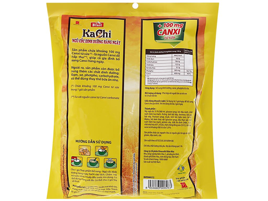 Ngũ cốc dinh dưỡng VinaCafé B'fast Kachi bịch 500g 2