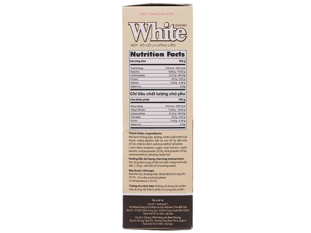 Bột ca cao Vietnamcacao Hot Chocolate White hộp 300g 2