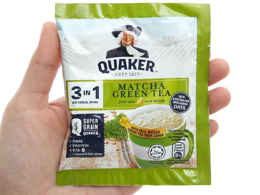 Thức uống yến mạch 3 trong 1 vị trà xanh matcha Quaker bịch 336g 6