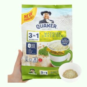 Thức uống yến mạch 3 trong 1 vị trà xanh matcha Quaker bịch 336g