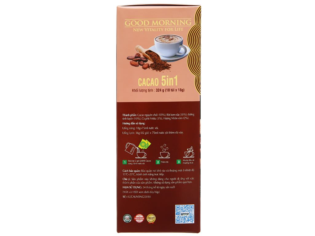 Bột ca cao Gama 5 in 1 hộp 324g 3