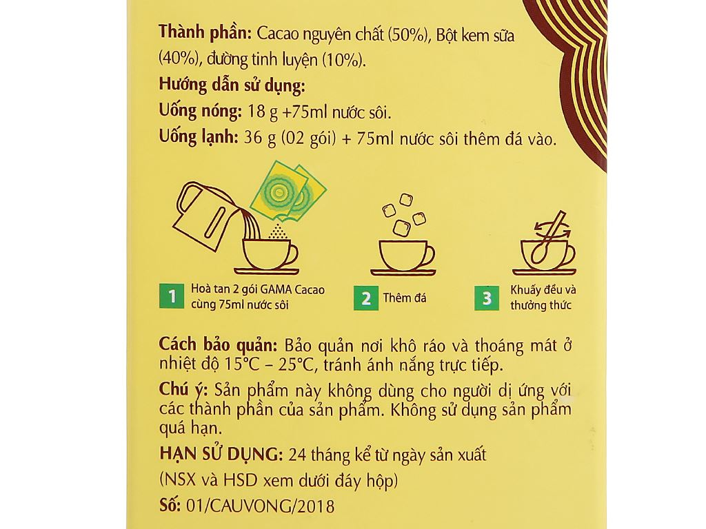 Bột ca cao Gama 3 in 1 hộp 216g 4
