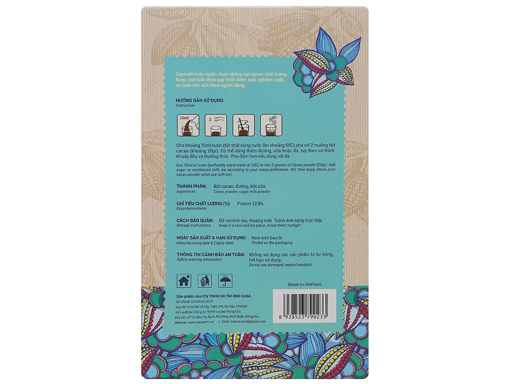 Bột sữa cacao CacaoMi 3 in 1 hộp 217g 2