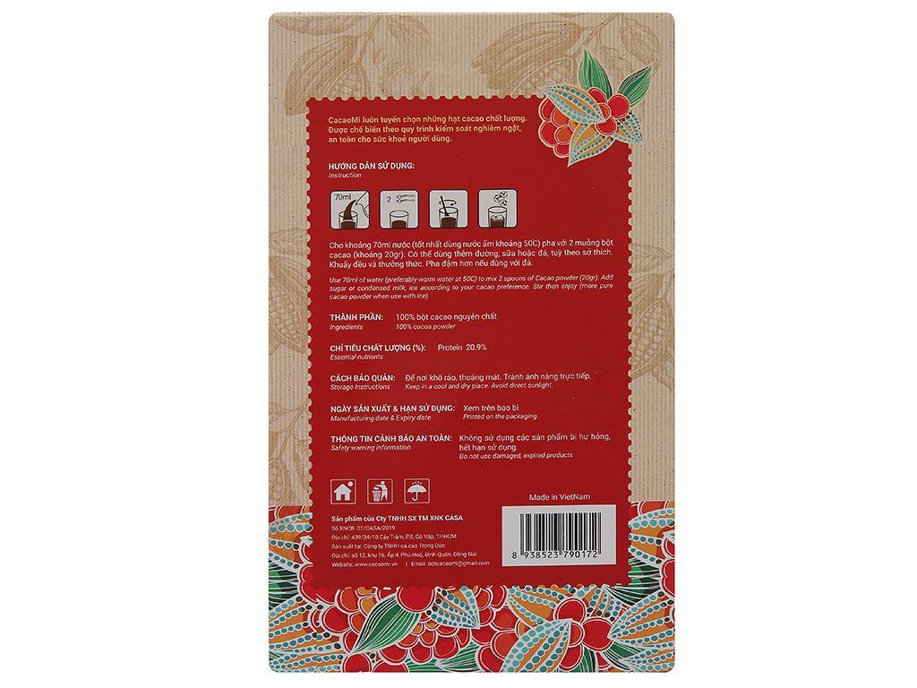 Bột ca cao nguyên chất CacaoMi Premium hộp 217g 2