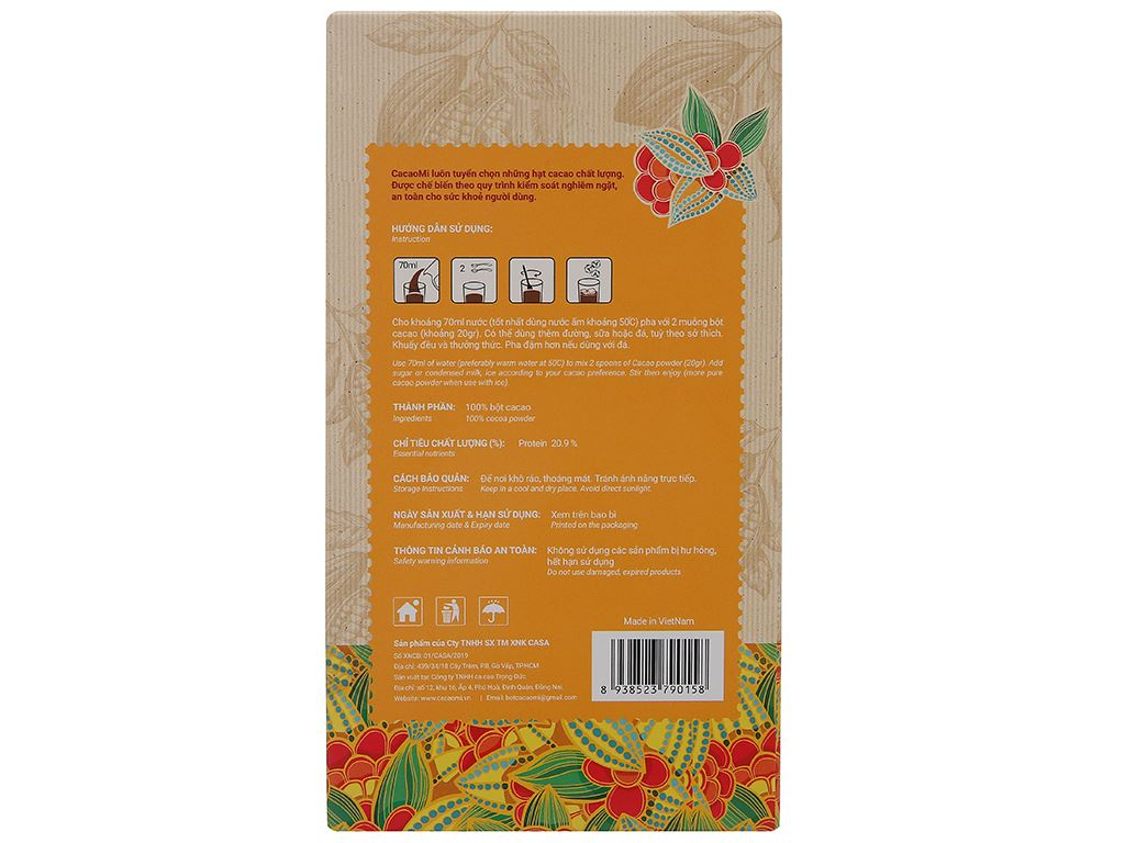 Bột ca cao nguyên chất CacaoMi Premium hộp 127g 2