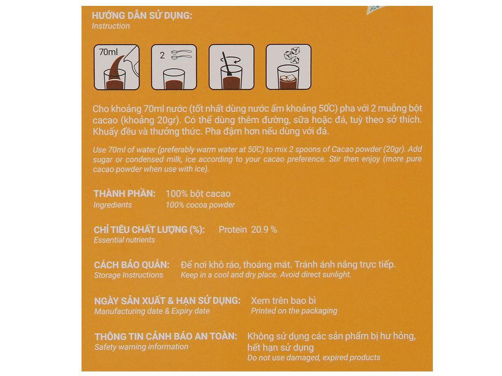 Bột ca cao nguyên chất CacaoMi Premium hộp 127g 3