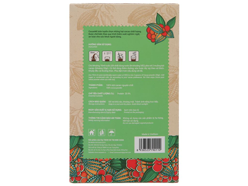 Bột ca cao nguyên chất CacaoMi Original hộp 217g 2